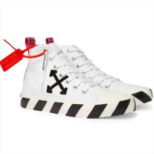 Off-White White Canvas Logo Mid Top Sneakers Shoes